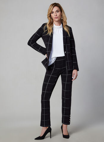 Amber Windowpane Print Pants, Black,  Amber, pants, slim leg, high rise, tailored, windowpane print, fall 2019, winter 2019