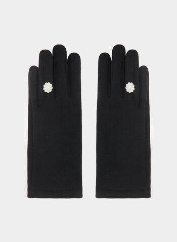Gants en tricot avec détail fleur, Noir, hi-res