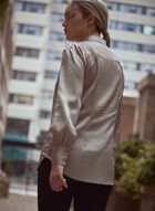 Satin Long Sleeve Blouse, Off White