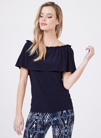 Off The Shoulder Jersey Top, Blue, hi-res