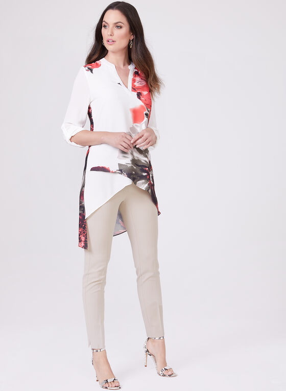 Floral Print Asymmetric Blouse, White, hi-res