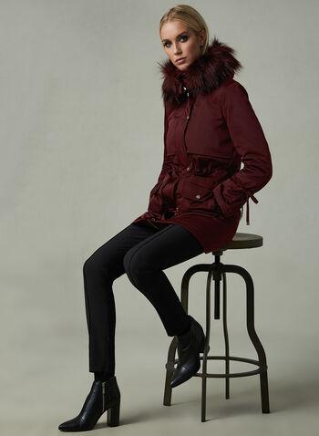 Karl Lagerfeld Paris - Manteau à capuchon en fausse fourrure, Violet, hi-res