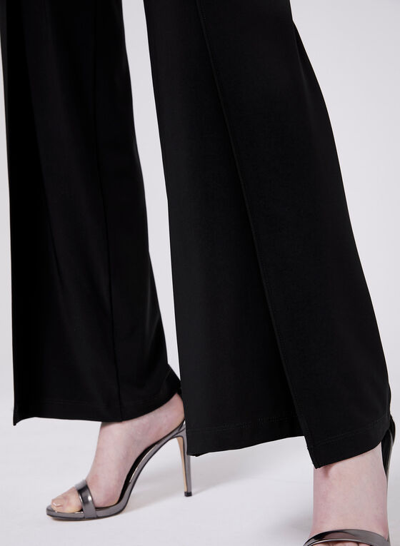 Pull-On Wide Leg Pants With Slits, Black, hi-res