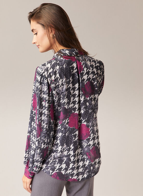 Houndstooth & Floral Print Blouse, Black