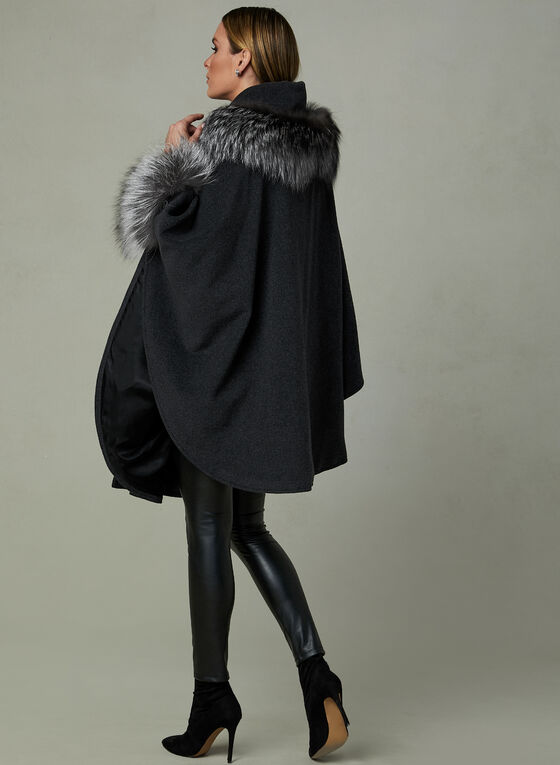 Mallia – Genuine Fur Trim Wool Cape, Grey, hi-res