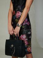 Ignite Evenings – Floral Print Split Neck Dress, Black, hi-res
