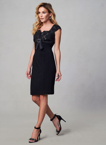 Joseph Ribkoff - Cap Sleeve Sheath Dress, Black,  fall winter 2019, cocktail dress, sheath
