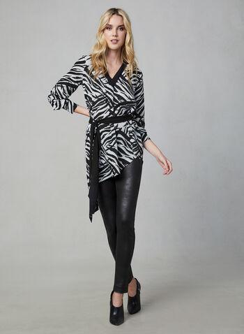 Animal Print Blouse, White,  blouse, top, long sleeves, V-neck, animal print, asymmetrical, fall 2019, winter 2019