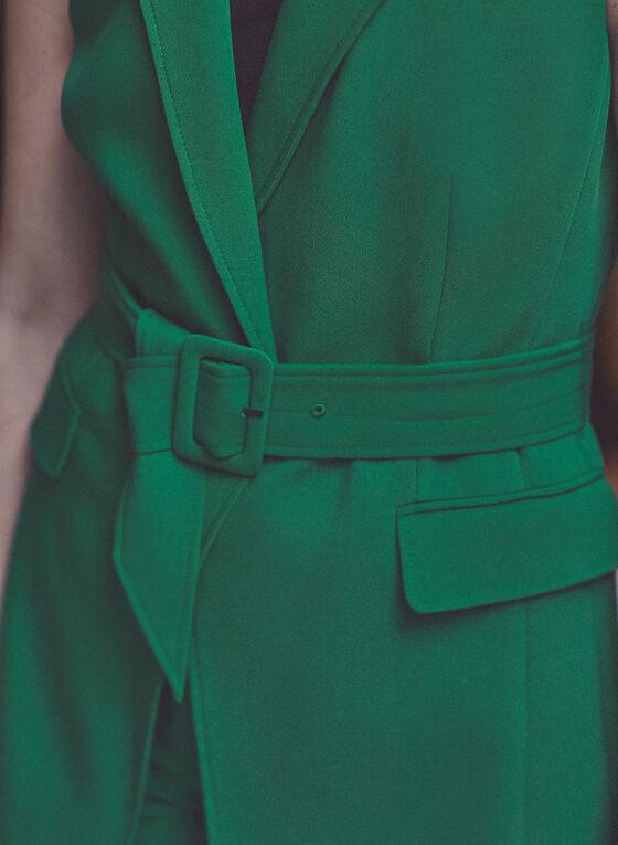 Long Belted Vest, Green