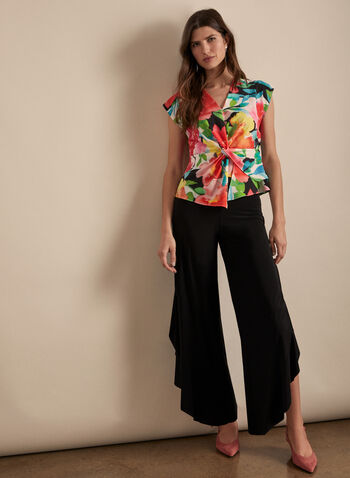 Joseph Ribkoff - Floral Print Top, Multi,  spring summer 2020, sleeveless, silk, knot detail, floral print, v-neck, made in Canada, Joseph Ribkoff
