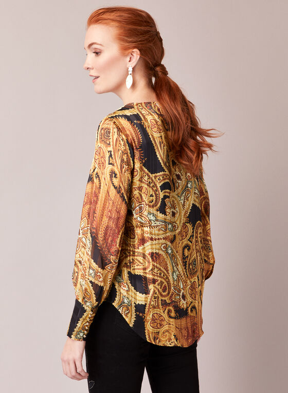 Paisley Print Striped Blouse, Yellow