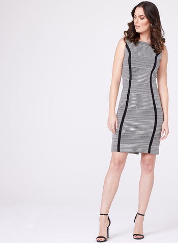 Jacquard Print Sheath Dress, Black, hi-res
