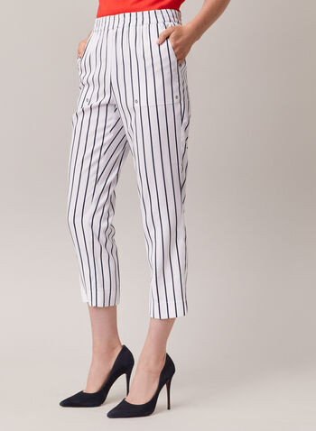 Stripe Print Pull-On Capris, White,  capris, slim leg, pull-on, elastic, striped, pockets, spring summer 2020
