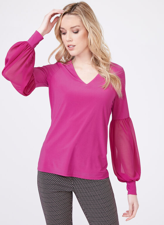 Balloon Sleeve Jersey Top, Purple, hi-res