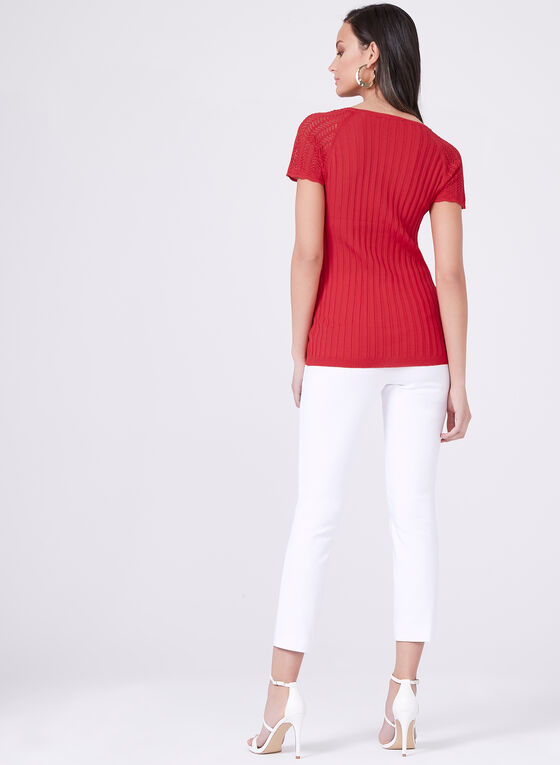 Vex – Short Sleeve Pointelle Ribbed Sweater, Red, hi-res