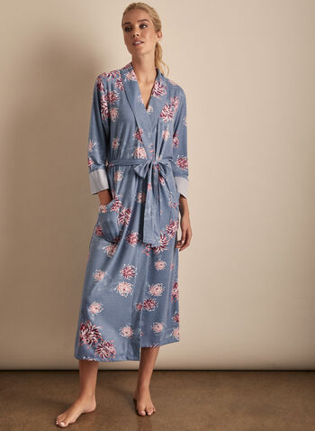 Comfort & Co. - Floral Print Robe, Blue,  sleepwear, robe, floral, stretchy, spring summer 2020