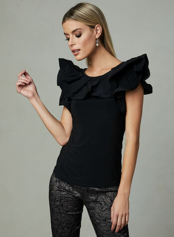 Joseph Ribkoff - Ruffle Scoop Neck Top , Black, hi-res