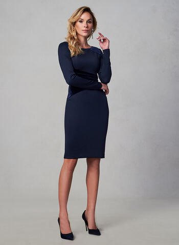 Vince Camuto -Velvet Detail Dress, Blue,  fall winter 2019, long sleeves, cocktail dress