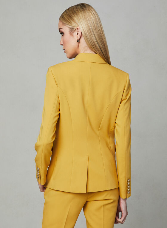 Lapel Collar Blazer, Yellow, hi-res