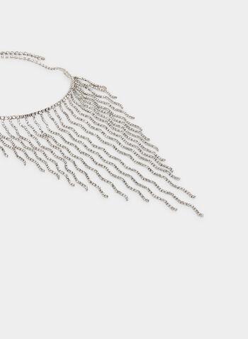 Collier plastron à cristaux, Argent, hi-res,  collier plastron, cristaux, cascade, automne hiver 2019