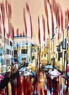Foulard à imprimé de paysage urbain, Rouge, hi-res