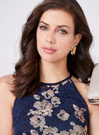 BA Nites – Embroidered Lace Halter Dress, Blue, hi-res