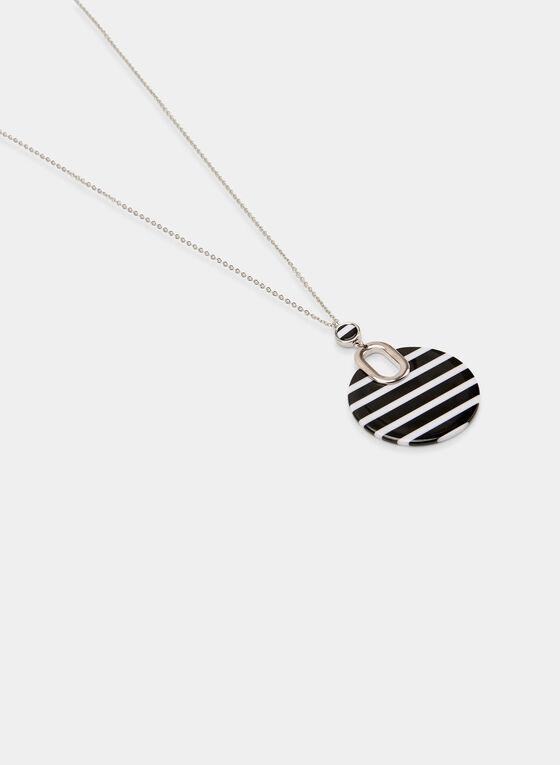 Collier à pendentif disque rayé, Noir, hi-res