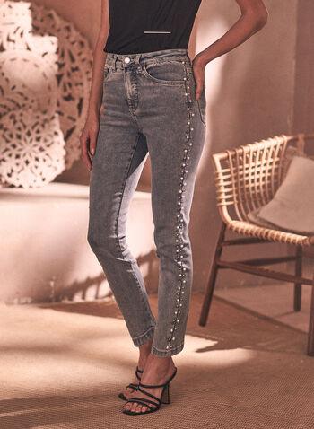 Joseph Ribkoff - Jean à jambe étroite et détail de perles, Bleu,  jean, taille haute, jambe étroite, joseph ribkoff, bouton, ganses pour ceinture, poche, rivets métalliques, perles, denim extensible, délavé, printemps été 2021