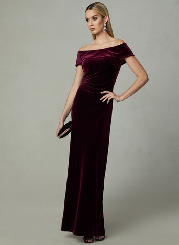 BA Nites - Velvet Evening Gown, Purple, hi-res