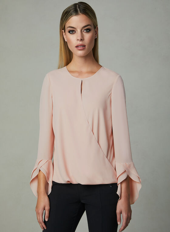 Ruffle Sleeve Faux Wrap Blouse, Pink, hi-res