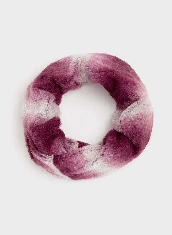Écharpe tube en simili fourrure ombrée, Rouge, hi-res