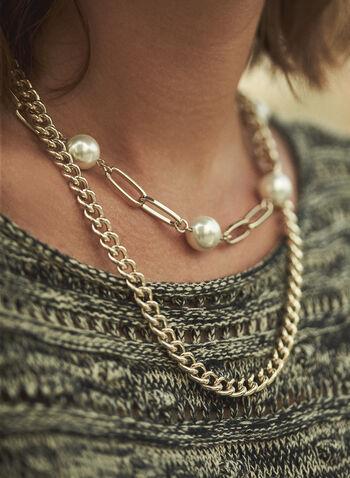 Collier à double rang avec insertion de perles, Blanc cassé,  accessoires, bijoux, collier, collier court, double rang, mélange, chaîne, maillons rectangulaires, perles, doré, automne hiver 2021