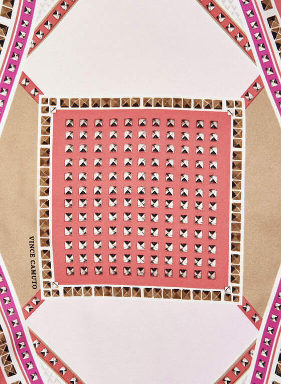 Geometric Print Silk Scarf, Pink, hi-res