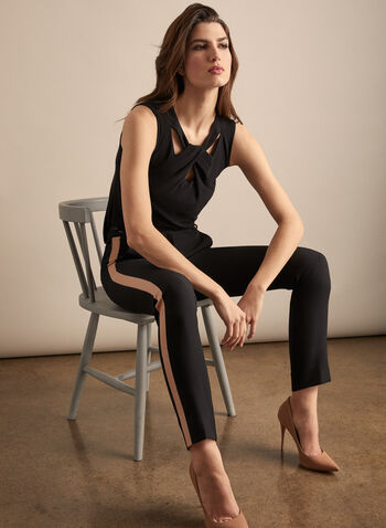 Sleeveless Cutout Detail Top, Black,  top, sleeveless, scoop neck, cutout, twist, jersey, spring summer 2020