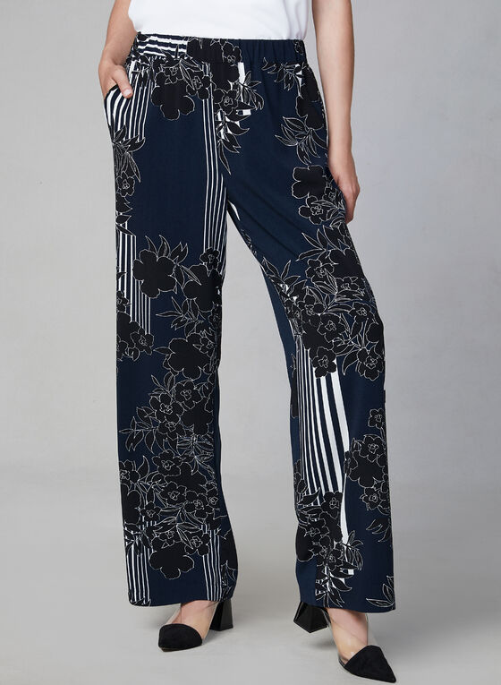 Mixed Print Wide Leg Pants, Blue