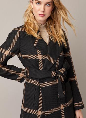 Manteau ceinturé à carreaux, Noir,  automne hiver 2020, manteau, ceinture, cintré, revers, manches longues, poches, motif, carreaux, carreauté