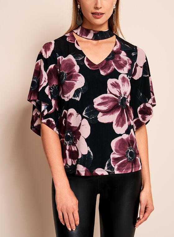 Floral Bell Sleeve Choker Top, Black, hi-res