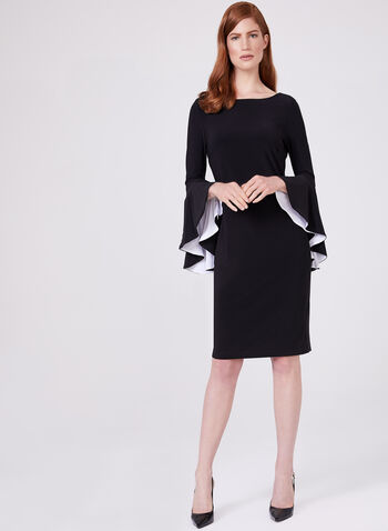 Frank Lyman - Ruffled Bell Sleeve Dress, Black, hi-res