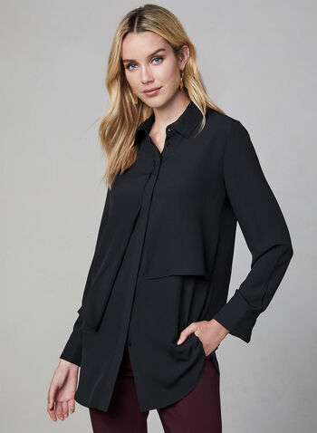 Layered Chiffon Blouse, Black, hi-res,  long sleeves, chiffon, layered effect, button down, tunic, fall 2019, winter 2019