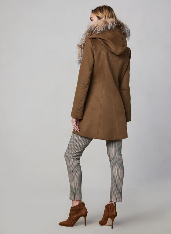 Sicily - Wool & Cashmere Blend Coat With Fur, Brown