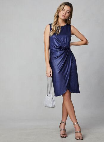 Donna Rico - Robe fourreau satinée sans manches, Bleu, hi-res,  robe cocktail, fourreau, sans manches, effet plissé, satinée, automne hiver 2019