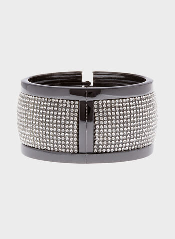 Wide Crystal Hinge Bracelet, Grey, hi-res