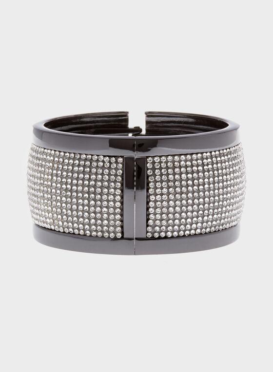 Bracelet rigide à cristaux, Gris, hi-res
