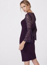 BA Nites - Sequin Lace Jersey Dress, Purple, hi-res