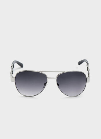Chainlink Arm Aviator Sunglasses , Silver, hi-res