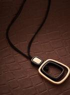 Collier long à double pendentif, Noir