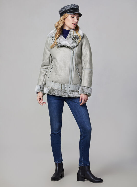 BCBGeneration - Aviator Coat With Faux Fur, Grey