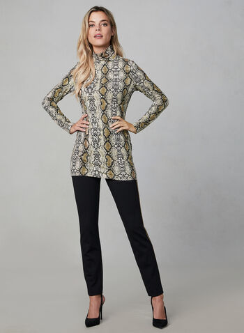 Madison Contrast Trim Pants, Black, hi-res,  high rise, pull-on, slim leg, fall 2019, winter 2019, chain trim