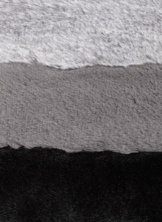 Faux Fur Colorblock Scarf, Black, hi-res