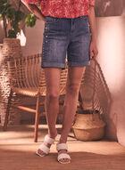 Embellished Denim Shorts, Blue